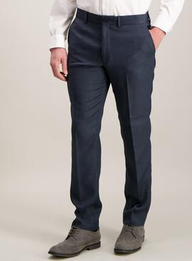 Blue Puppytooth Check Slim Fit Suit Trousers With Stretch