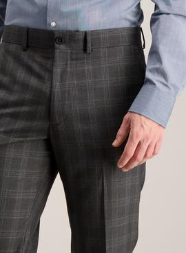 Grey Check Tailored Fit Trousers