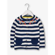 Navy Stripe Floral Embroidery Cardigan (9 months - 6 years)