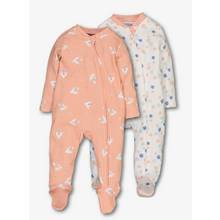 Pink Zip Through Sleepsuits 2 Pack (0-24 Months)