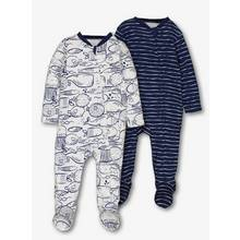 Blue Nautical Zip Sleepsuits 2 Pack (0-24 Months)