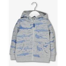 Grey Shark Print Zip Through Hoodie