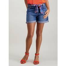 Blue Denim Scarf-Belted Shorts