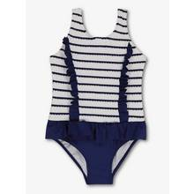 Navy Striped Ruffle Swimsuit (3-12 years)
