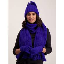Cobalt Blue Knitted Scarf - One Size