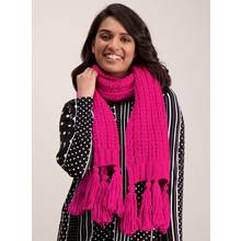 Bright Pink Knitted Scarf - One Size