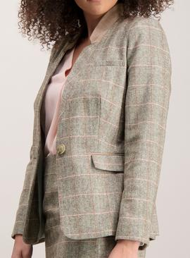 Brown Check Fitted Jacket