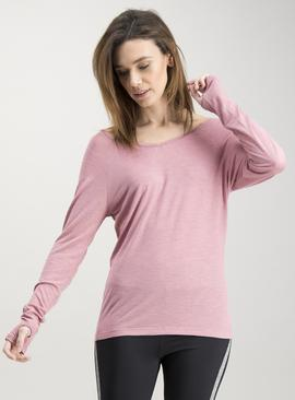 Active Pink Cross Back Long Sleeve Top - 26