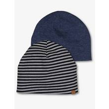 Navy & Striped Jersey Beanies 2 Pack (3-16 years)