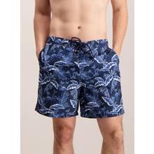 Navy Leaf Print Board Shorts