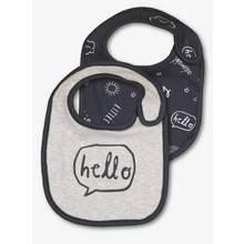 Grey Hello Print Bibs 2 Pack - One Size