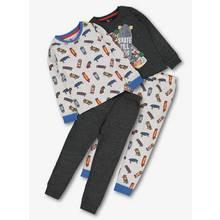 Multicoloured Skateboard Print Pyjamas 2 Pack (1.5 - 12 Year