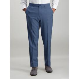 Blue Chambray Tailored Fit Trousers With Stretch