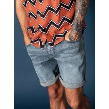 Revival Blue Light Wash Slim Fit Denim Shorts With Stretch