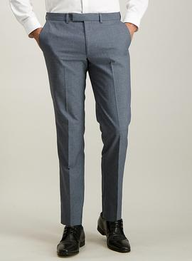 Blue Melange Tailored Fit Trousers