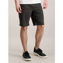 Charcoal Grey Denim Straight Fit Shorts With Stretch