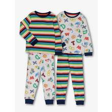 Multicoloured Alphabet Print Pyjamas 2 Pack