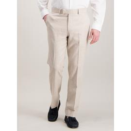Stone Herringbone Tailored Fit Linen Blend Suit Trousers