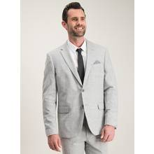 Grey Cotton & Linen Blend Tailored Fit Suit Jacket