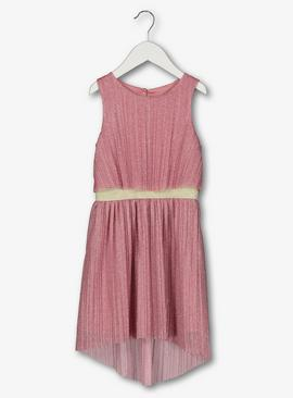 Pink Pleated Sparkle Dress
