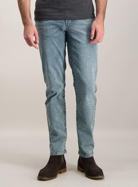 Light Wash Blue Denim Slim Fit Jeans With Stretch
