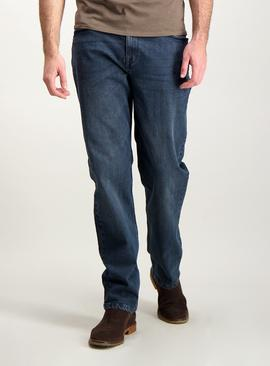 Mid Blue Wash Straight Leg Denim Jeans With Stretch