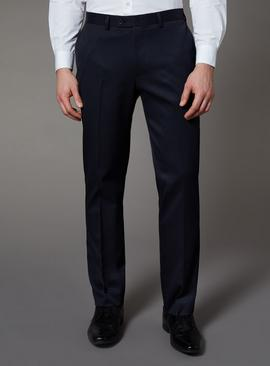 Navy Tailored Fit Trousers With Stretch