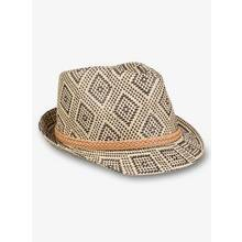 Multicoloured Patterned Straw Trilby Hat