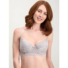 Grey Two Tone Lace Balcony Bra