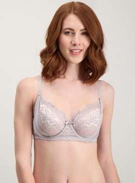Grey Two Tone Lace Full Cup Bra