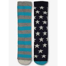 Blue Stars & Striped Welly Socks 2 Pack (3 Infant -6.5 Adult