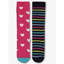 Multicoloured Hearts & Stripes Welly Socks 2 Pack (3 Infant