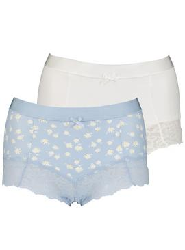 Blue & White Floral Print Brazilian Knickers 2 Pack