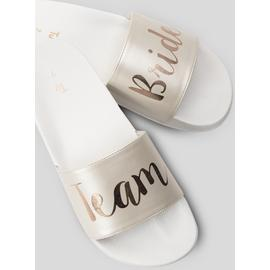 Online Exclusive White Team Bride Pool Sliders