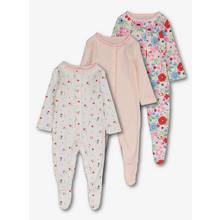 Multicoloured Floral Sleepsuits 3 Pack (Newborn -24 Months)
