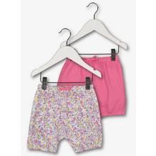 Multicoloured Floral & Plain Shorts 2 Pack (0-24 months)