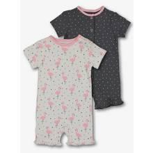 Pink & Grey Flamingo Rompers 2 Pack (0 - 2 years)