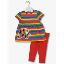 Elmer Multicoloured Striped Dress & Leggings Set (0-24 Month