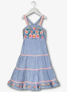 Blue Stripe & Floral Embroidered Sundress