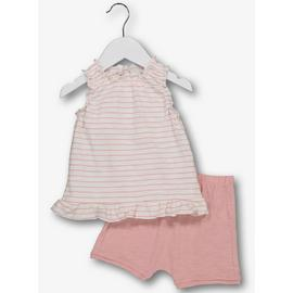 Pink Sleeveless Striped Top & Shorts Set