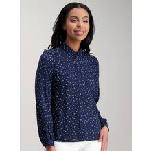 Navy Blue Spotted Print Shirt