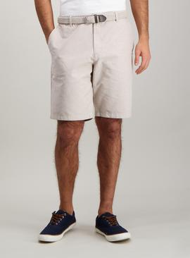 Stone Oxford Belted Chino Short