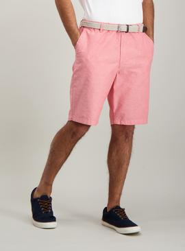 Pink Oxford Belted Chino Short