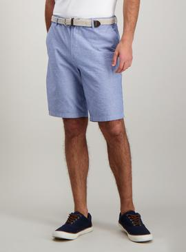 Blue Oxford Belted Chino Short - 50