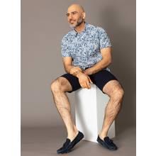PREMIUM Navy Seersucker Slim Fit Shorts