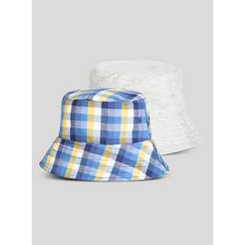 Multicoloured Check Bucket Hats 2 Pack
