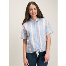 Blue Stripe Tie Front Shirt