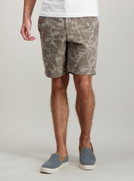 Taupe Floral Print Chino Shorts With Stretch