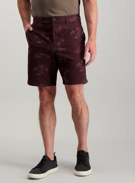 Burgundy Island Print Chino Shorts With Stretch