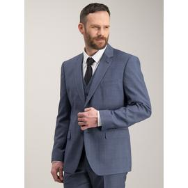 Blue Multi-Check Tailored Fit Suit Jacket